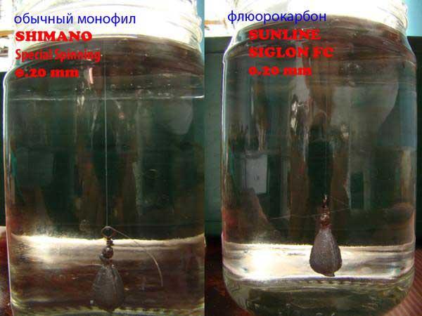 Сравнение флюрокарбоновой лески и монофильной